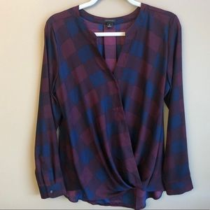 Navy and Burgundy Ann Taylor cross front blouse